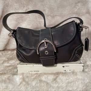 COACH Small Black Leather Shoulder Bag.